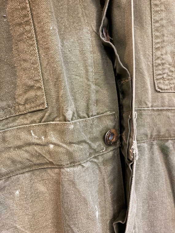 Vintage 1940's Green Military Workwear Coveralls,… - image 4