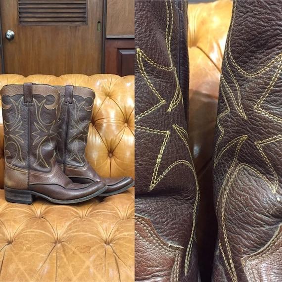 Vintage 1960's Western Cowboy, Brown Western Boots