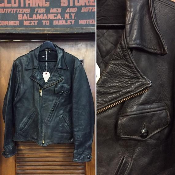 Vintage 1940's Horsehide Motorcycle Leather Jacket