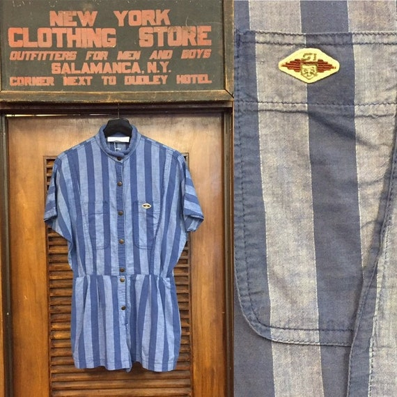 Vintage 1980's Blue Stripe Cotton Romper, 1980's R