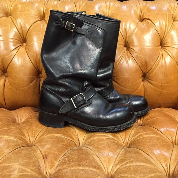 Vintage 1960's, Black Leather Boots, Motorcycle B… - image 2