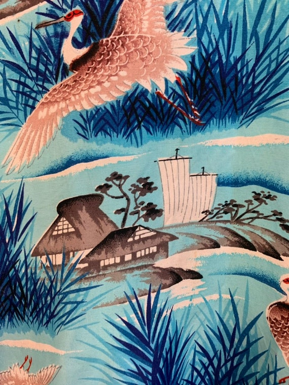 Vintage 1950's Penney's Asian Pattern Crane & Pag… - image 7
