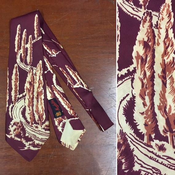 Vintage 1940's Necktie, Tree Path Pattern, 1950s T