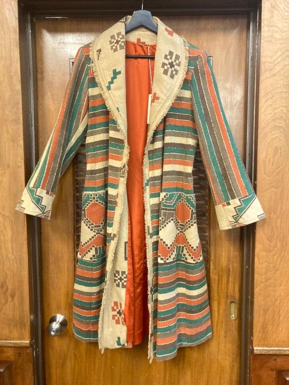 Vintage 1970's Southwestern Serape Duster Coat Ja… - image 3