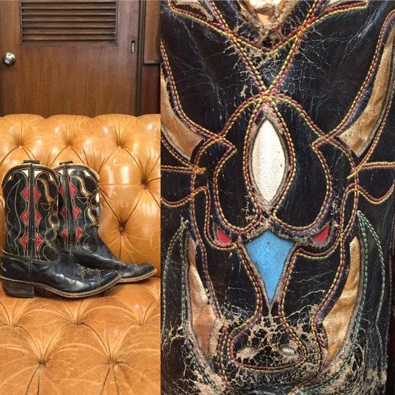 Vintage 1960's, Acme Boots,  Black Leather cowboy