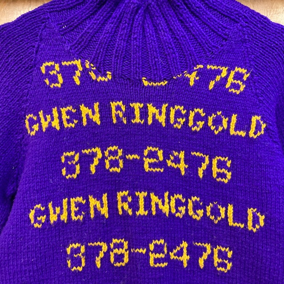 Vintage 1960's Hand Knit Pop Art Phone Numbers Sw… - image 7