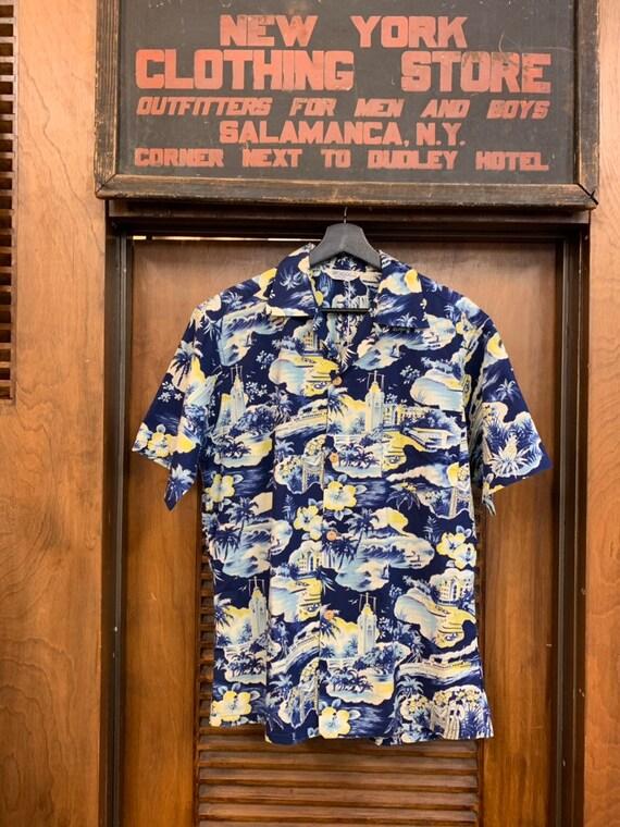 Vintage 1950's Men's Kilohana Blue Tropical Cotton