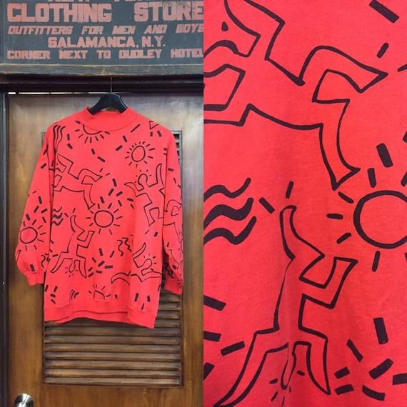 Vintage 1980's Red Keith Haring-Style Sweatshirt,