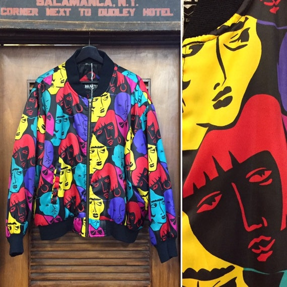 Vintage 1990's Cartoon Faces Bomber Jacket, 90's P