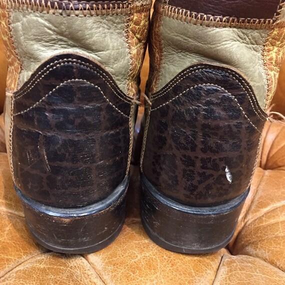 Vintage 1960's, Patchwork Western Boots, Rockabil… - image 5