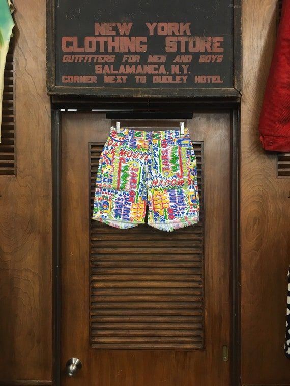Vintage 1960's Pop Art Slogan Shorts, 1960's Short