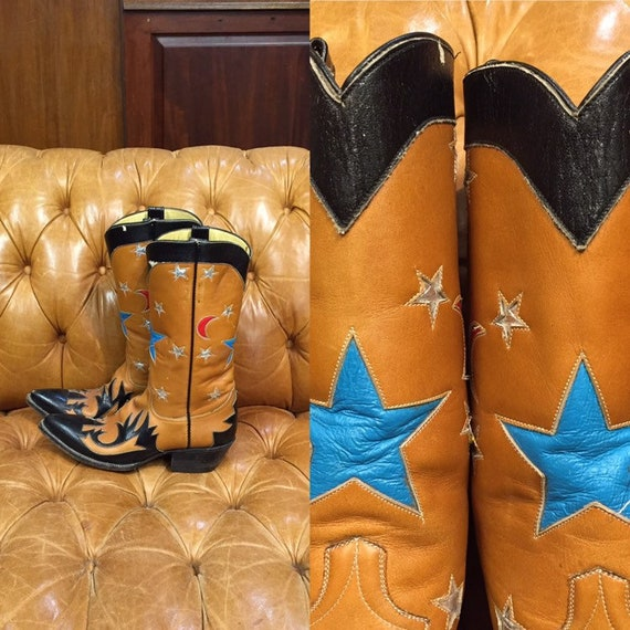 Vintage 1960's, Camel Western boots, Multi Inlay D
