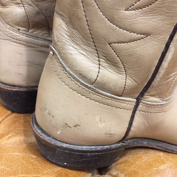 Vintage 1980's, Beige Leather Cowboy Boots, Weste… - image 8