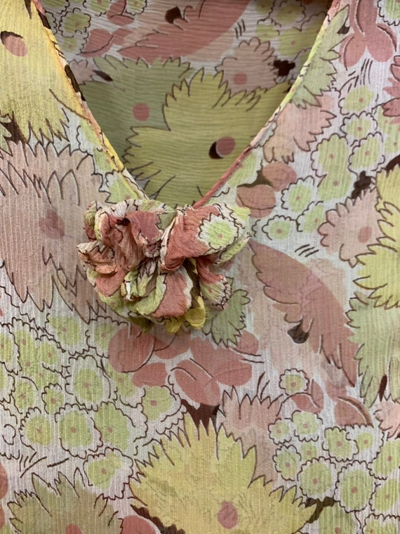 Vintage 1930's Yellow Floral Semi Sheer Crepe Chi… - image 6