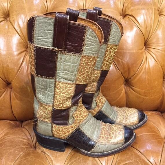 Vintage 1960's, Patchwork Western Boots, Rockabil… - image 2