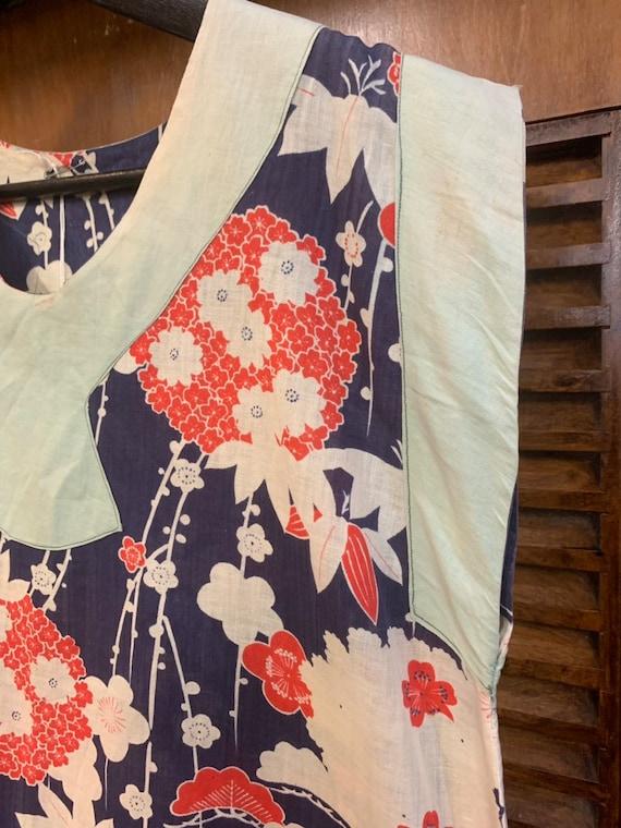 Vintage 1920's Summer Floral Cotton Pullover Top,… - image 4