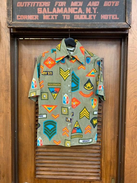 Vintage 1960's Military Pop Art Short Sleeve Shir… - image 2