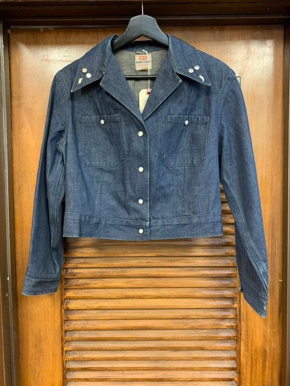 Vintage 1950's Levi's Studded Denim Shirt Jacket,… - image 3