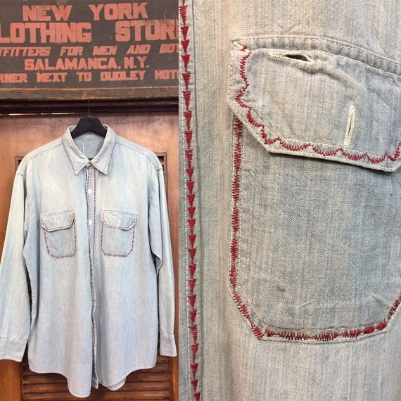 Vintage 1950's Chambray Work Shirt with Embroidery