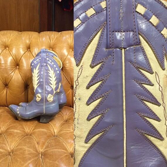 Vintage 1960's, Fox Boots, Lavender  Leather cowbo