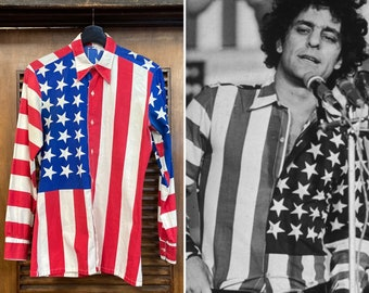 Vintage 1960's American Flag Abbie Hoffman Pop Art Shirt, 60's Shirt, 60's Pop Art, 60's Yippie, Stars and Stripes, 60's Counter Culture
