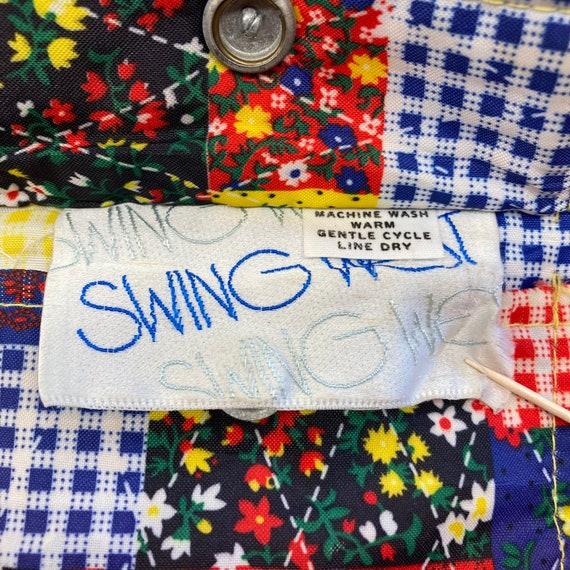 "Vintage 1960's ""Swing West"" Patchwork Print Rever… - image 10"