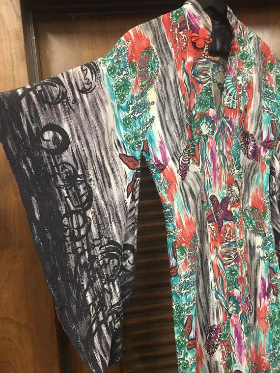 Vintage 1940s Hawaiian Kamehameha Tiki Print Dress