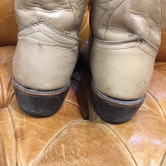 Vintage 1980's, Beige Leather Cowboy Boots, Weste… - image 6