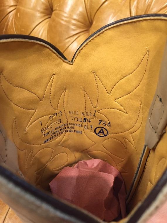 Vintage 1980's, Beige Leather Cowboy Boots, Weste… - image 9