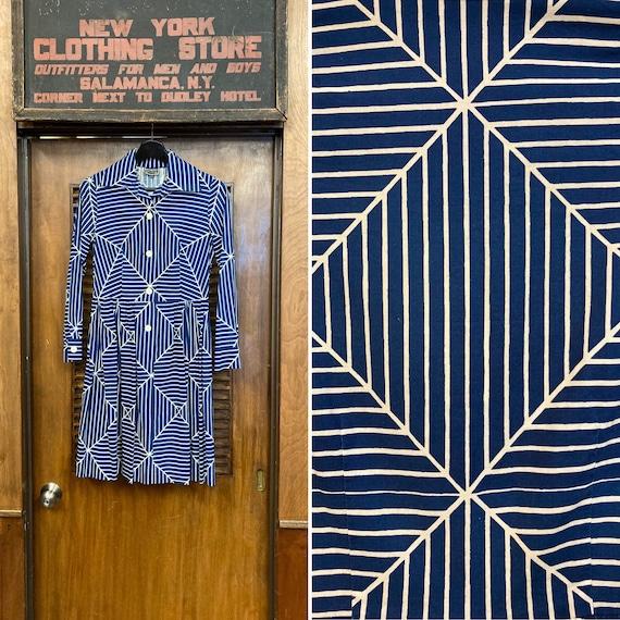 Vintage 1960's 1970's Marimekko Blue & White Op Ar