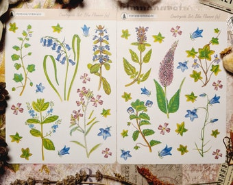 Countryside Sticker Set: Blue Flower Stickers (a)   Plant Stickers   Planner   Stationery   Erin Condren   Bullet Journal   TN   Floral