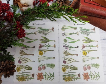 30 Piece Vintage Spring Flowers Sticker Sheets | Sticker Set | Planner | Journal | ECLP | Traveller's Notebook| Tulip | Daffodil | Lily