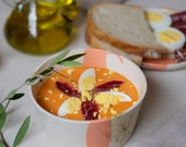 Salmorejo my way. Handmade ceramic bowl for Salmorejo. Bowl and plate for tomato soup. Mediterranean ceramics. Housewarming gift. Tableware