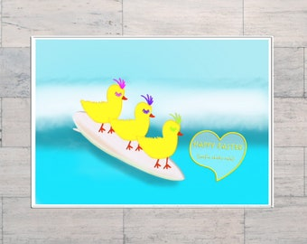 Surfie Chicks Easter, Funny Easter Card, Surf's Up, Surf Lover's Gift, Easter Card, Printable, Digital Download, Instant Download,
