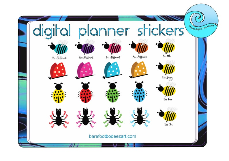 Digital Planner Stickers, Good Notes App, Whimsical, Clip Art, Butterfly,  Ladybird, Bees, and Spiders, Instant Download, Digital Download