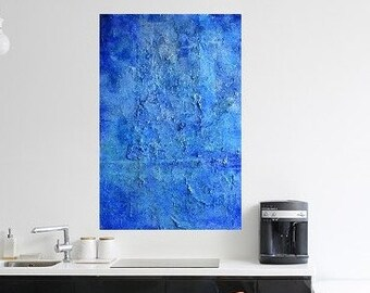 Large(24 by 36) deeply textured blue abstract  painting.