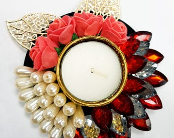 Funktionz Floating Candle with pearls, flowers and crystals