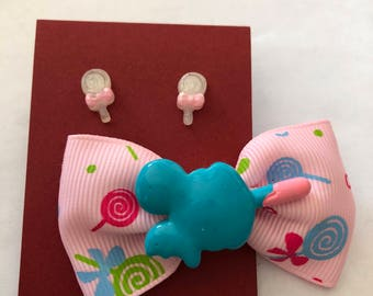 Mickey Mouse Ice Cream bow and lolly pop stud earrings.
