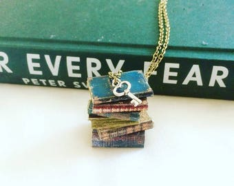 Vintage Book Necklace, Book Collector, Librarian Gift jewellery, Book Club Gift, Writer gift, Bookworm, teacher gift, literary pendant