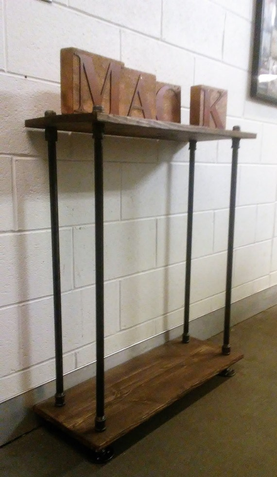 Brilliant Large Sofa Console Table Industrial Black Pipe Wood Custom Stain Industrial Furniture Upcycle Machost Co Dining Chair Design Ideas Machostcouk