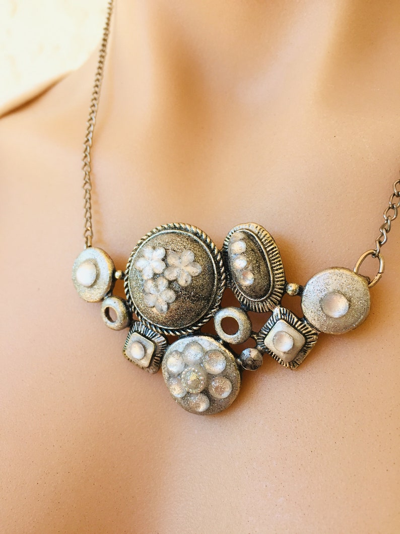 Silver Necklace Floral Necklace Necklaces for Women