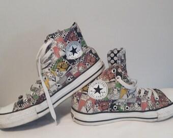 66c5fbc924e7 Vintage Chuck Taylor CONVERSE ALL STAR hi top sneakers shoes comics polka  dot lining M 7 W 9
