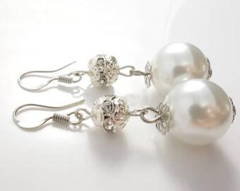 Pearl Earrings Bridal Earrings Crystal Pearl Earrings Wedding Earrings Earrings for Bridesmaids Gift For Her Wedding Jewelry Ivory Pearl