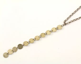 Vintage Rolo Chain Lariat Necklace 925 Sterling NC 1059