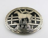 Vintage Beautiful Large Jean Dixon Navajo Horse Ethnic Tribal Design Belt Buckle 925 Sterling OT 363