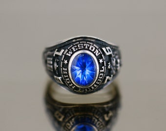 e31e65c78ca Vintage 1976 Weston High School Design Class Ring 925 Sterling Size 9 RG  3183