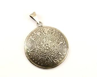 Aztec pendant etsy vintage large aztec mayan calendar pendant 925 sterling silver pd 1725 aloadofball Image collections