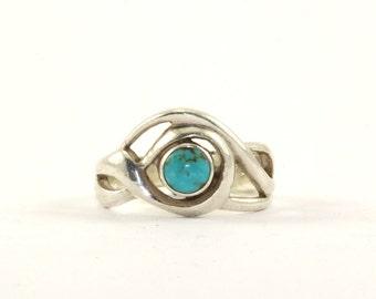e8b097e9c4acdc Conception de la boucle Vintage BOMA ronde découpe Turquoise anneau en  argent 925 RG 2405