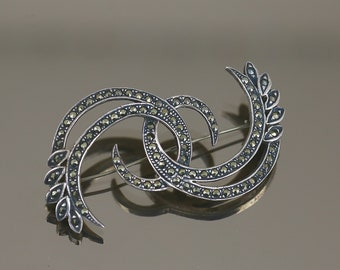 Bp2492 Vintage Marcasite Cloud Of Swirls Brooch Pin 925 Sterling Silver