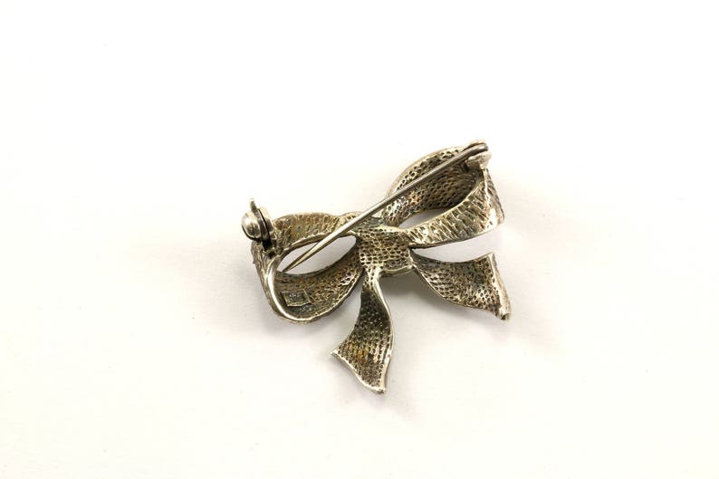 Vintage Small Bow Design Marcasite PinBrooch 925 Sterling BB 501